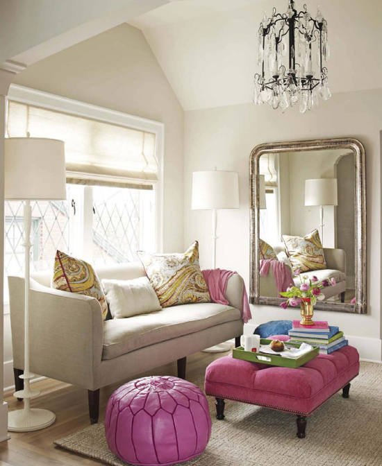 Fuchsia ottoman matching a same shade moroccan pouf via House Beautiful April 2012