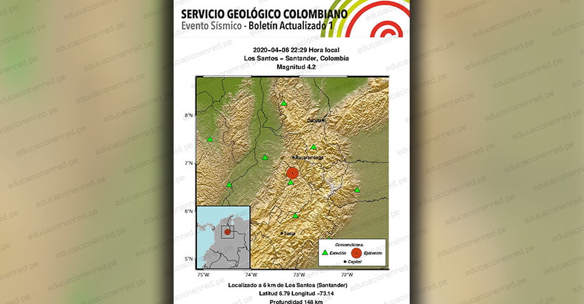 Temblor en Colombia de Magnitud 4.2 (Hoy Lunes 6 Abril 2020) Terremoto - Sismo - Epicentro - Los Santos - Santander - En Vivo Twitter - Facebook - www.sgc.gov.co