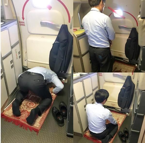 Meski Sibuk, Kepala Awak Kabin Ini Tetap Sempatkan Shalat Saat Pesawat Mengudara