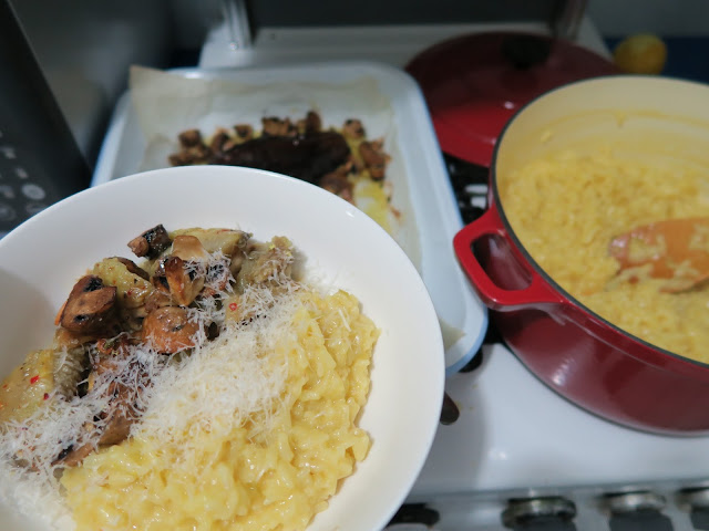 Saffron risotto with baked eggplant and mushrooms | salt sugar and i