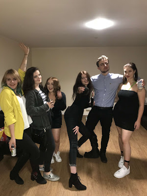 university friends at a party