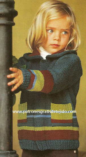 Campera de niño tejida a dos agujas con paso a paso