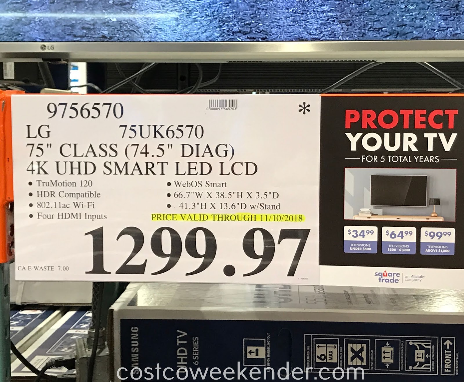 Deal for the LG 75UK6570 75in TV at Costco