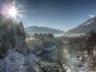 A beautiful wintry scene of the Noce river near Malè