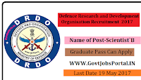 Defence Research and Development Organisation Recruitment 2017- Scientist`B