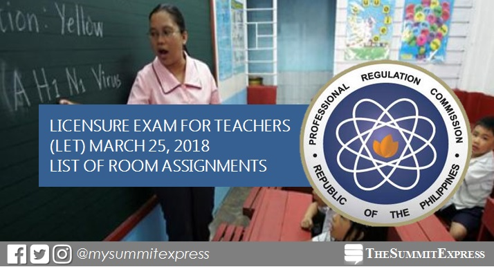 FULL LIST: Room Assignment March 2018 LET Teachers board exam