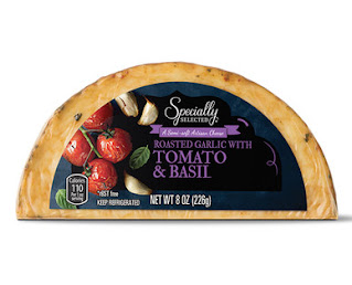 A stock image of Specially Selected Roasted Garlic with Tomato and Basil Cheese, from Aldi