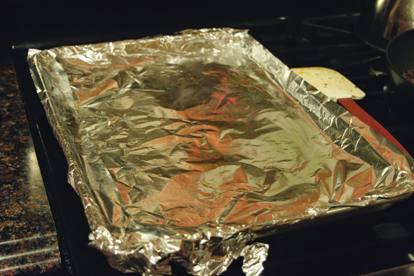 A baking sheet lined with foil.