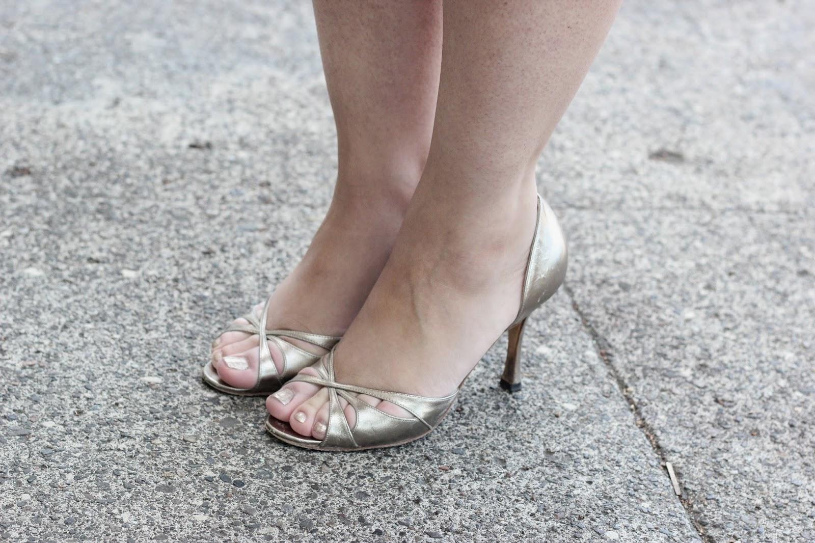 Metallic Manolo Blahnik Heels
