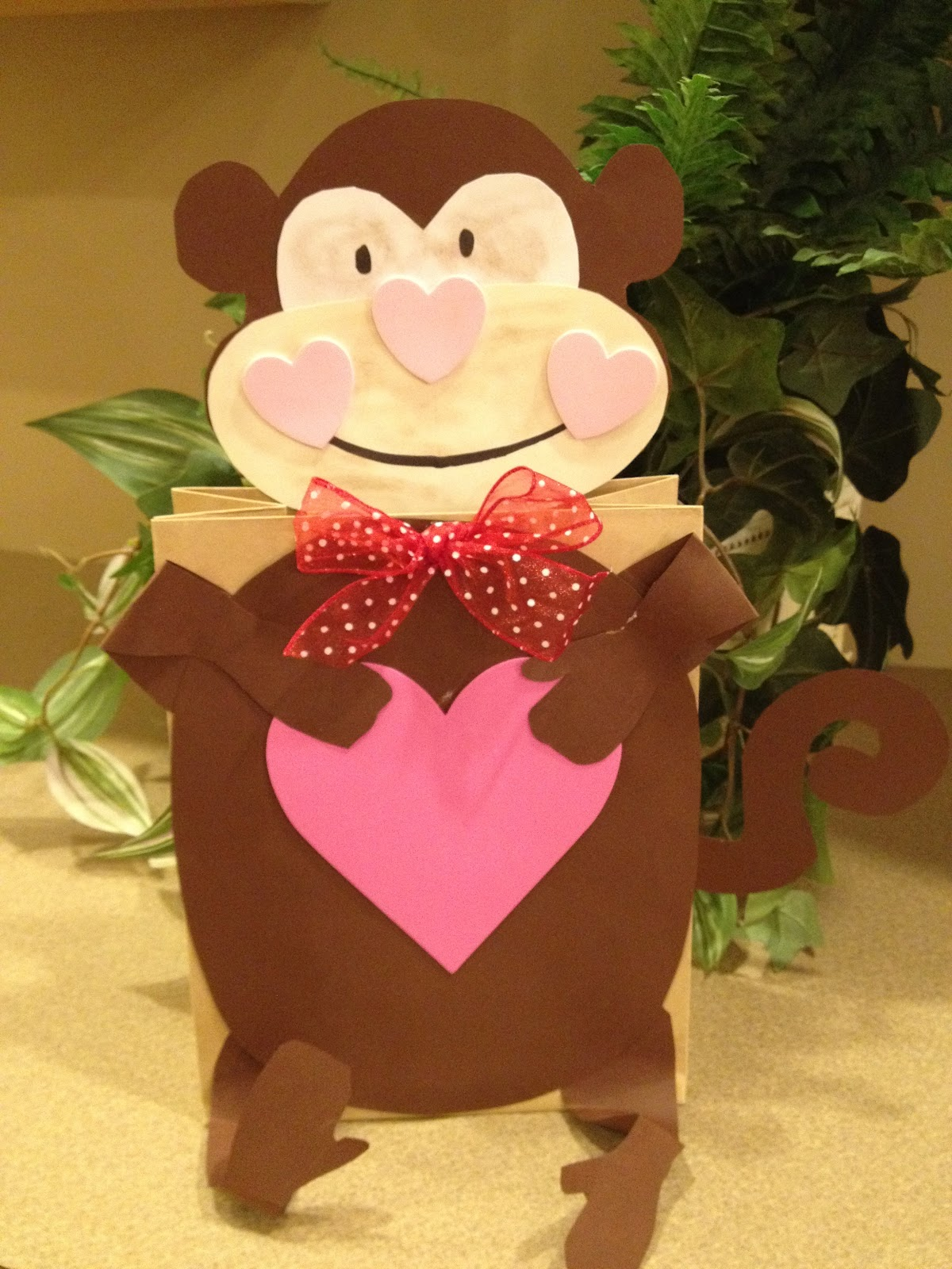 My First Grade Backpack Monkey Valentine Holders