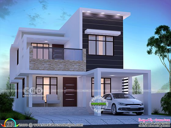 1615 square feet 3 bedroom flat roof modern home