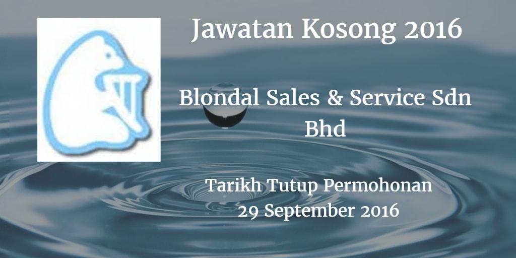 Jawatan Kosong Blondal Sales & Service Sdn Bhd 29 September 2016