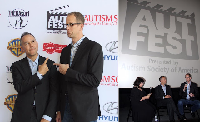 Pete Docter and Jonas Rivera joking around on the red carpet of the AutFest