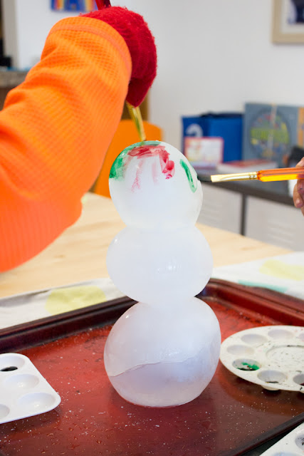 Painting on Ice  Kids Activity- Try making a snowman out of ice and painting it with watercolors