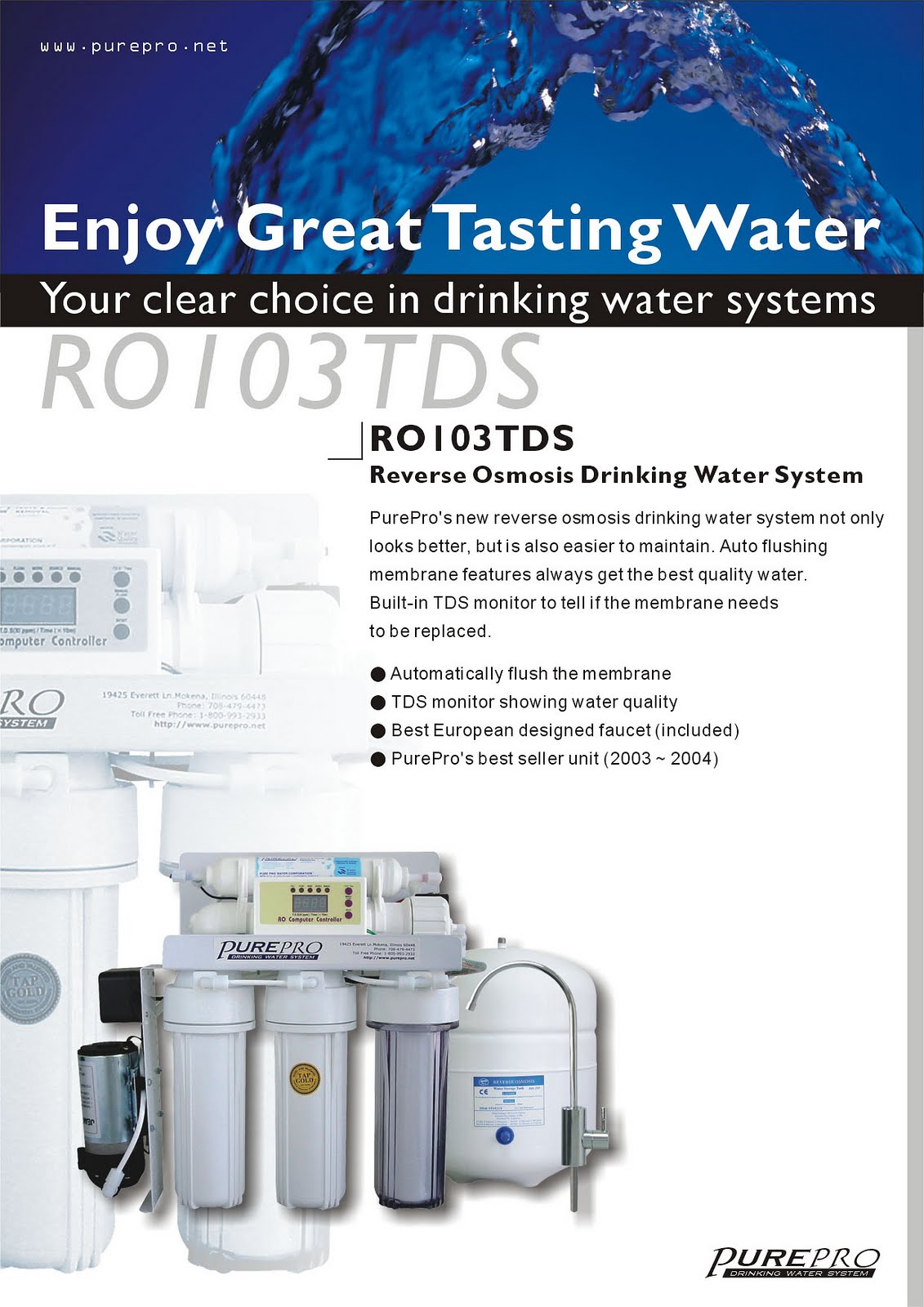 PurePro® RO103TDS Reverse Osmosis Pure Water Filtration System