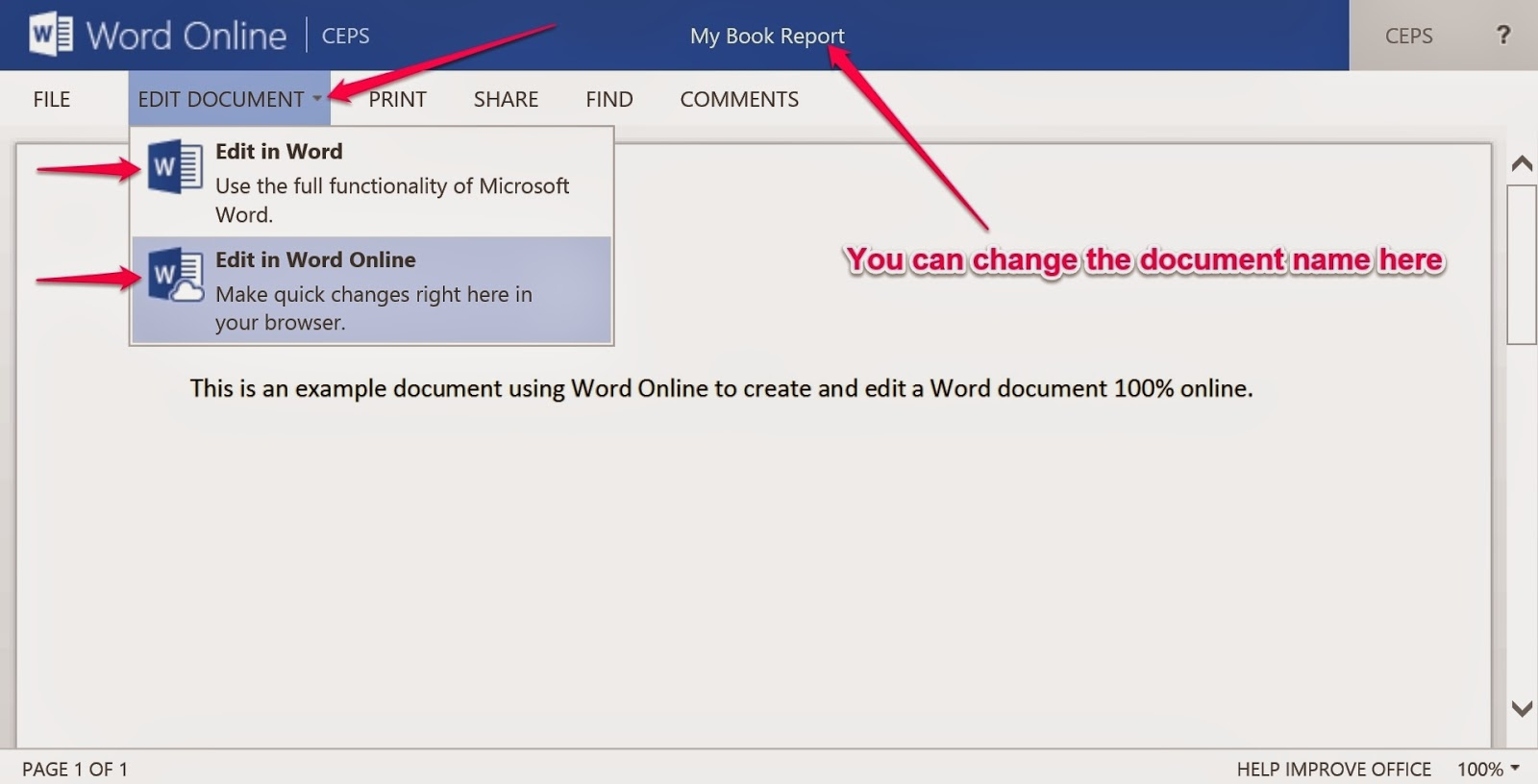 write a word document online