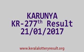 KARUNYA KR 277 Lottery Results 21-01-2017