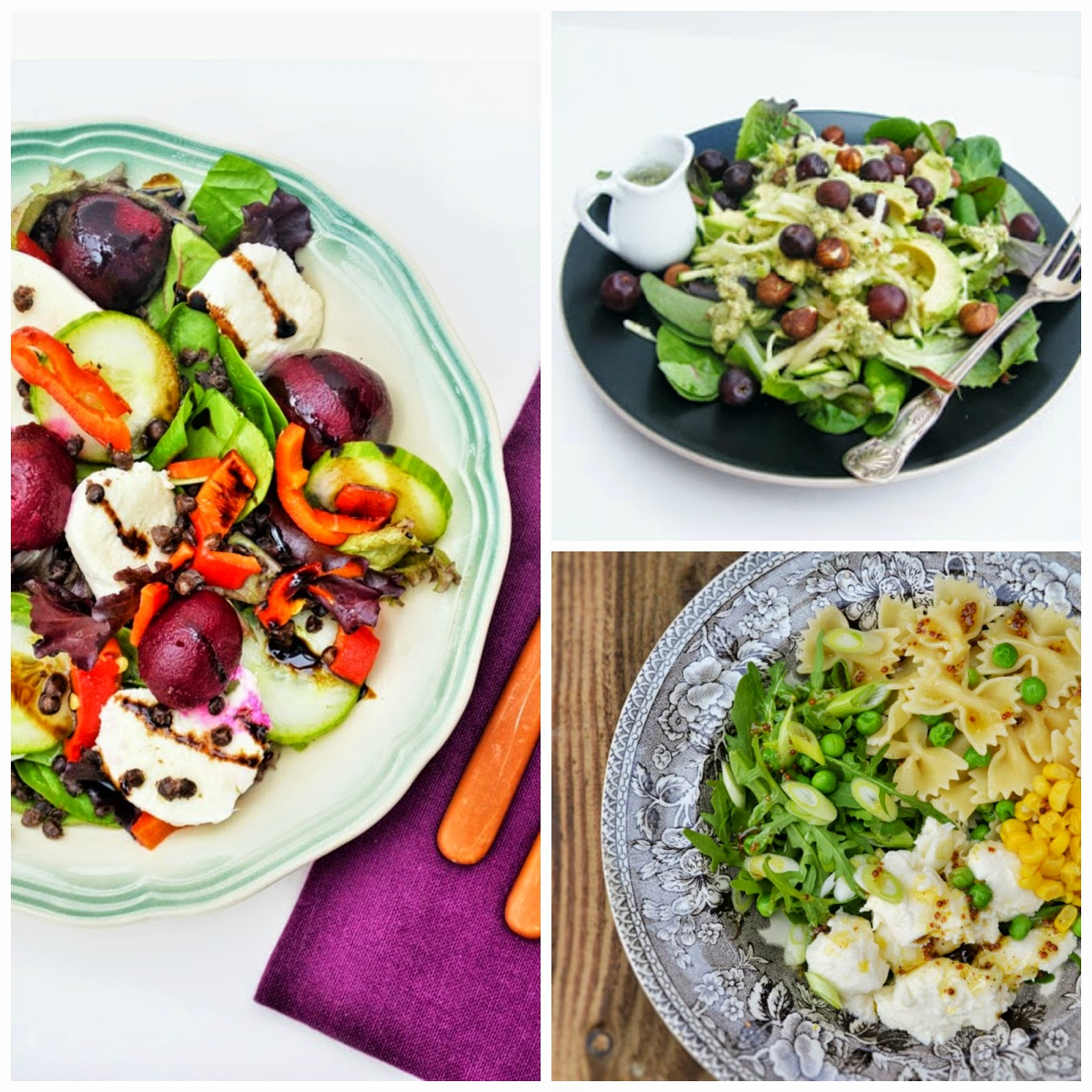 a selection of vegetarian salads