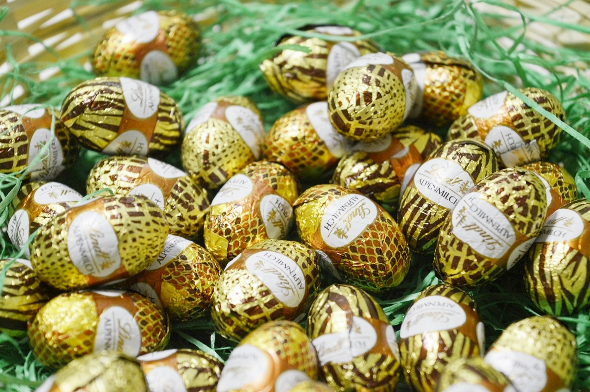 Easter bunny wears Animal Print full cream milk eggs basket