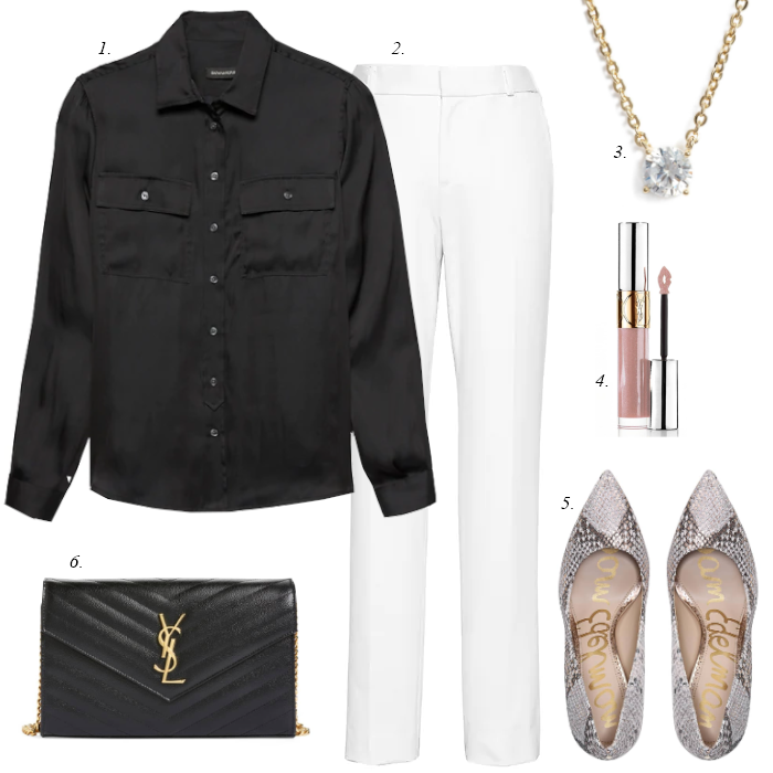 snake print pumps, white work pants, black satin blouse, workwear outfit, women work outfit