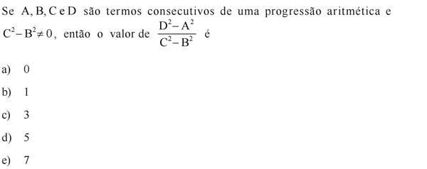 Se A, B, C e D são termos consecutivos de uma progressão aritmética e