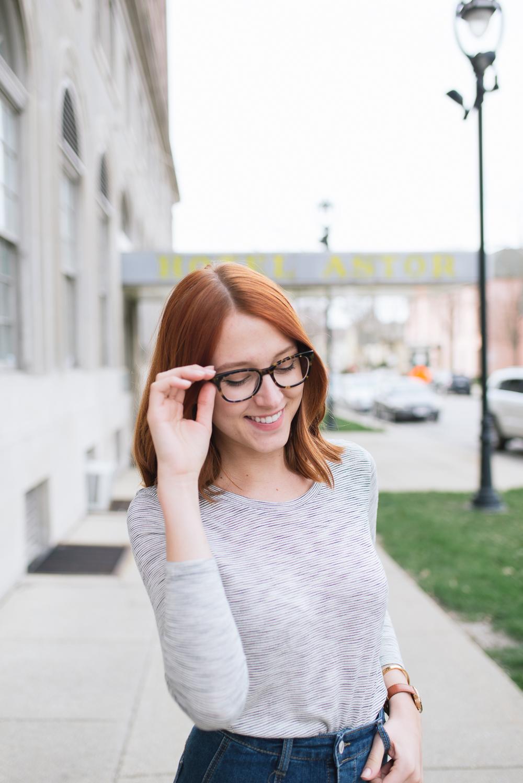 Beautyosuaurs Lex-Alex Good-Style Blog-Spring Outfit-Denim Skirt-Striped Shirt-Madewell Anthem Shirt-Warby Parker Finch Glasses-Nine West Loafers-Nixon Rose Gold Kensington