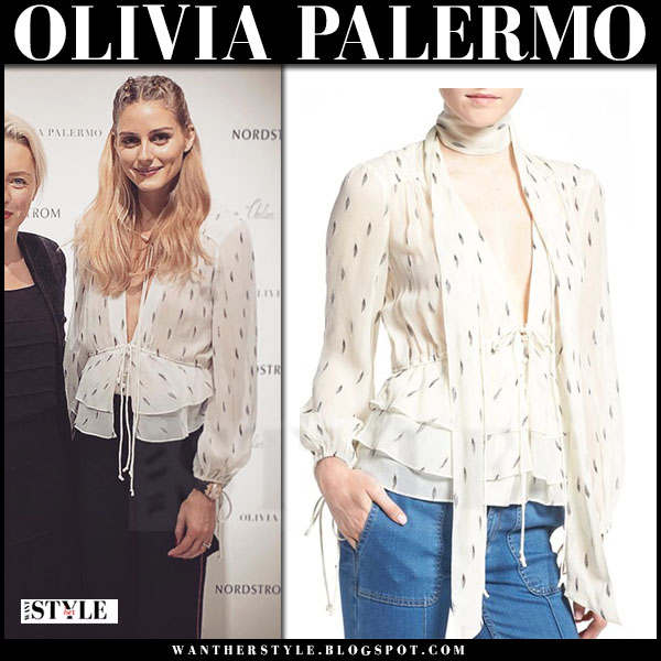 Olivia Palermo in ivory print silk peplum blouse chelsea28 fall 2016 what she wore