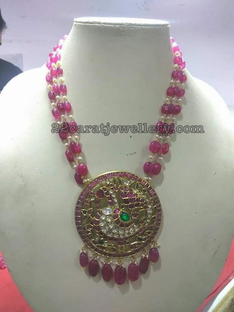 Ruby Beads Chain with Kundan Peacock Pendant