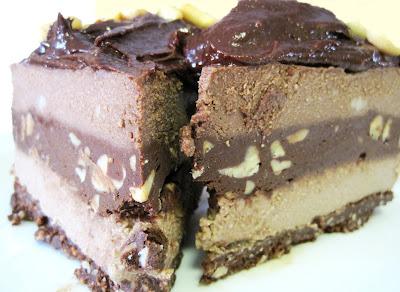 Raw Double Fudge Chocolate Brownie Cheesecake - Dessert Recipes