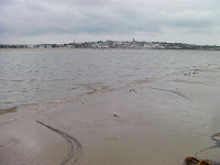 ryde town from sandflats at low tide