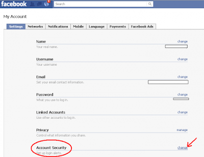 Facebook My Account Settings >> Account Security