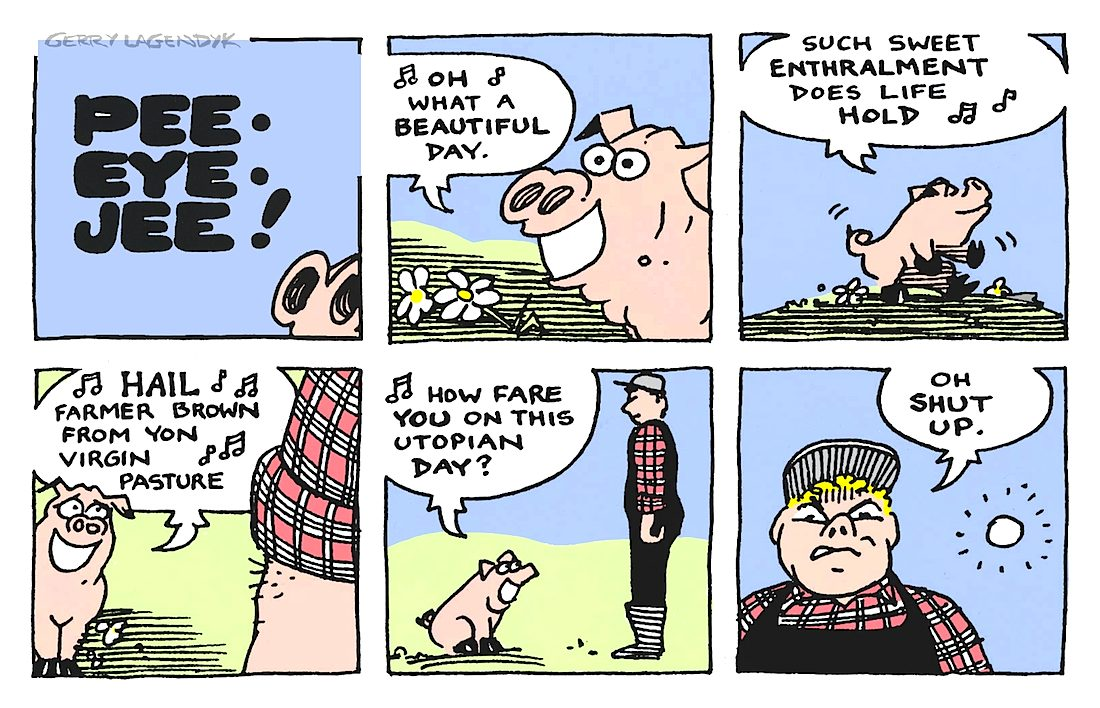 a pig and farmer cartoon
