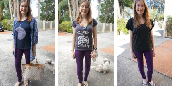 changing jeans and a tee outfit with purple jeans instead of blue denim | awayfromblue