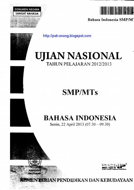 Berbagi Dan Belajar Naskah Soal Un Bahasa Indonesia Smp 2013 Paket 1