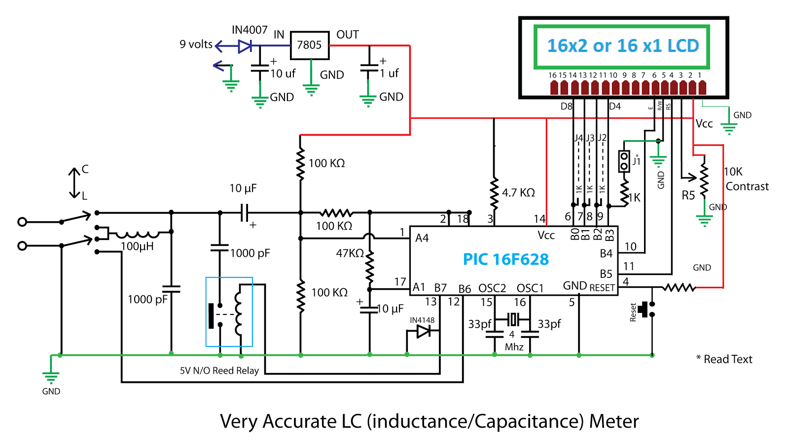 Capacitance And Inductance Meter Electronic Circuit Schematic - Fav