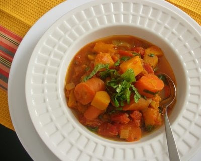 Slow Cooker Squash and Carrot Stew from Kitchen Parade [found on SlowCookerFromScratch.com]
