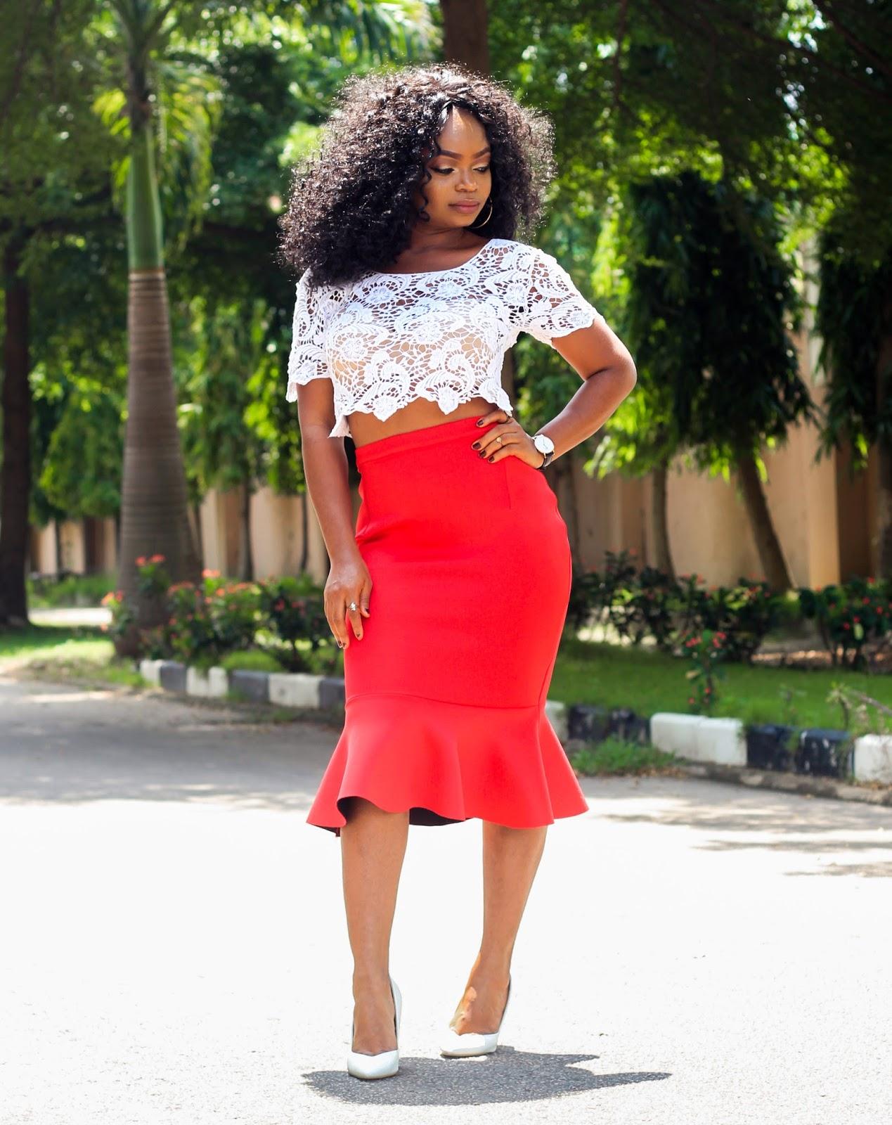 PEPLUM HEM SKIRT - Styling Red Peplum Hem Skirt from Choies and White Lace Crop Top