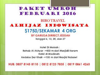 HARGA PAKET UMROH FEBRUARI 2016