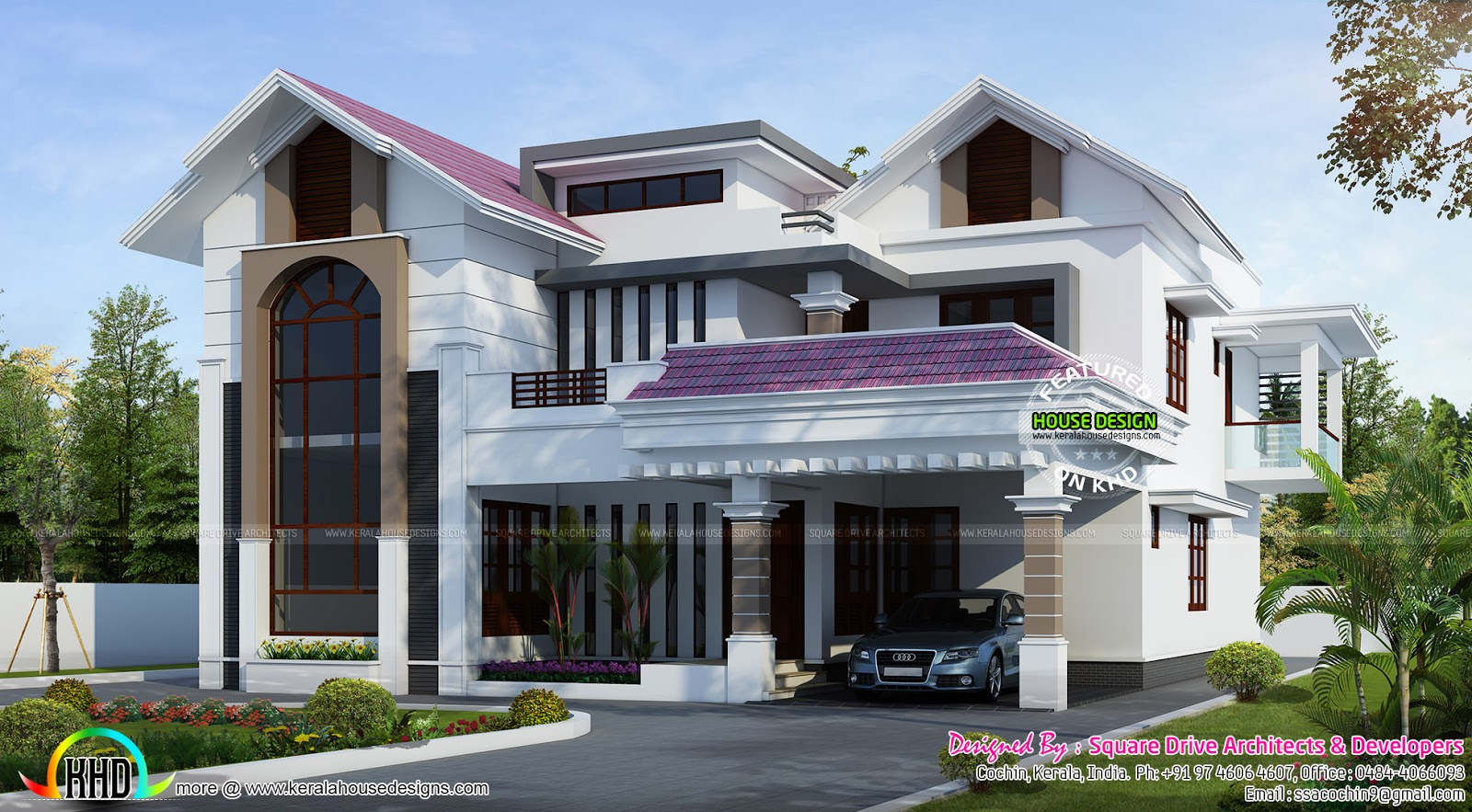 Purple roof home design kerala home design and floor plans for Kerala home roof designs