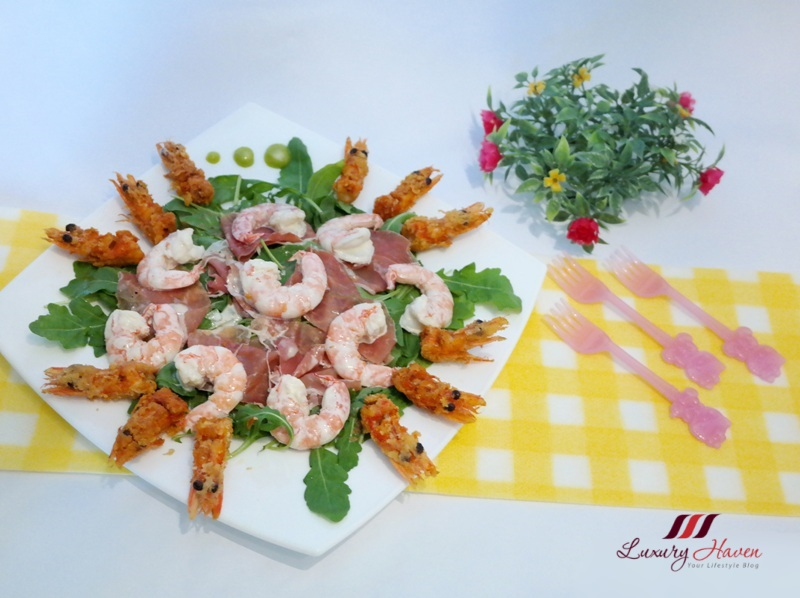 purelyfresh wild rocket salad wasabi prawns recipe