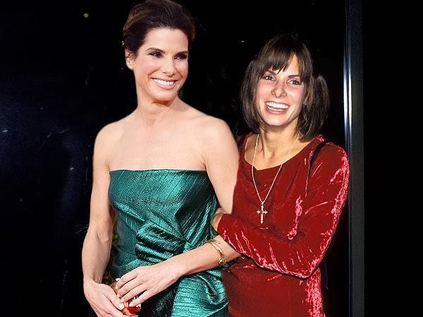 Sandra Bullock in 2014 (left) and in 1993