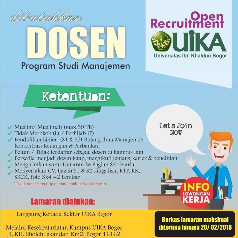 Lowongan Dosen Prodi Manajemen Universitas Ibn Khaldun (UIKA) Bogor