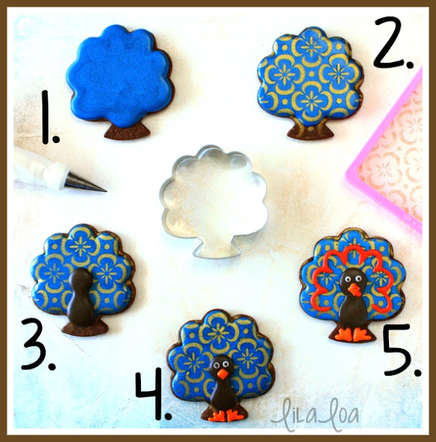 Stenciled turkey sugar cookies -- with a video tutorial.