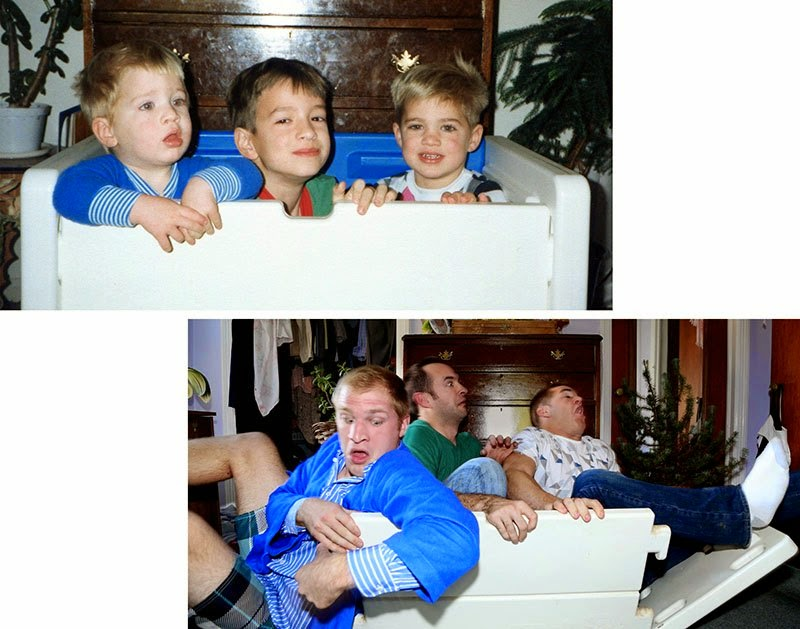 Watch Brothers Recreate their Childhood Photos as Christmas gift for Mom via geniushowto.blogspot.com Macmillan brothers have a threesome tie as they desperately try to fit the crate