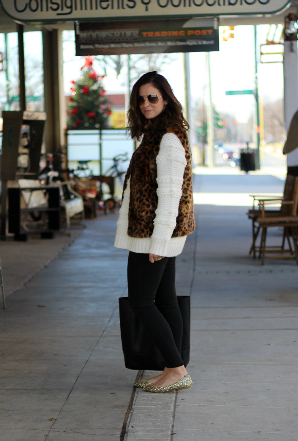 loft snowbird sweater, faux fur leopard vest, glitter flats, north carolina blogger, style on a budget