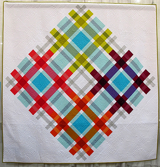 Plaid on Point Quilt Quilted by The Plaid Portico, The Pattern designed by Jennifer Rossotti for Robert Kaufman Fabrics