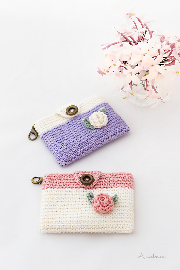 Mini Crochet Pouch in a romantic and shabby-chic style, Anabelia Craft Design