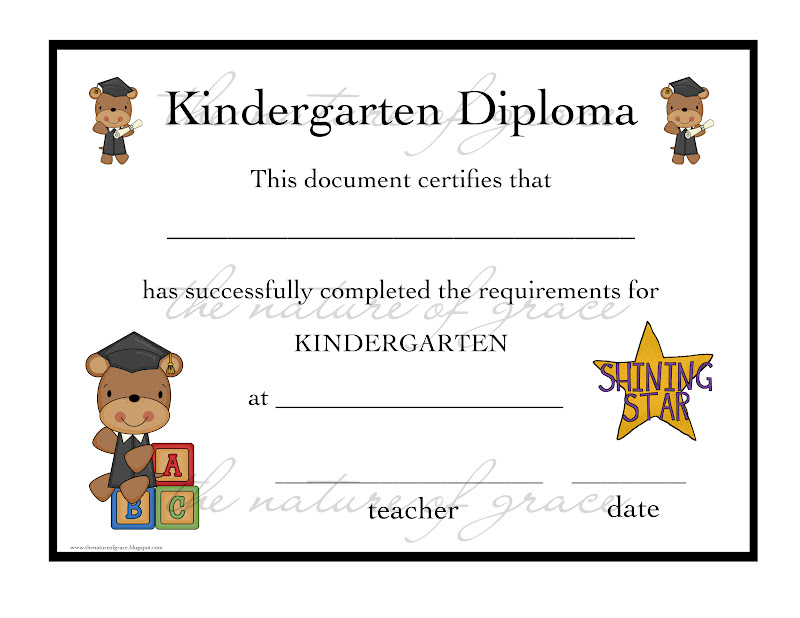 Kinder diploma with starjpg - Diploma Wording