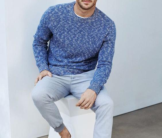Look Masculino Suéter Azul