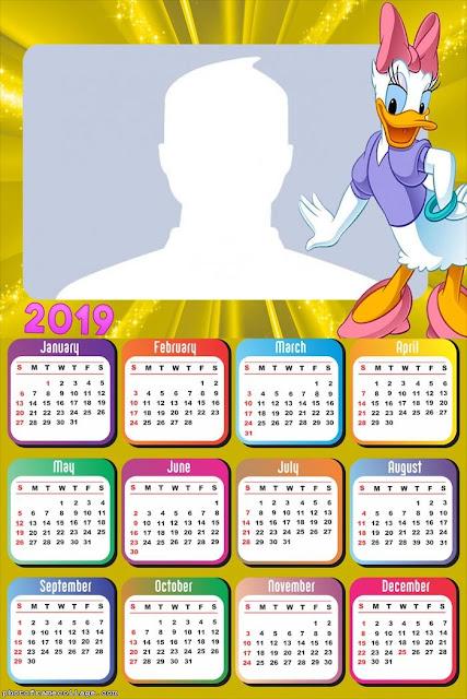 Calendario 2019 de Daisy para Imprimir Gratis.